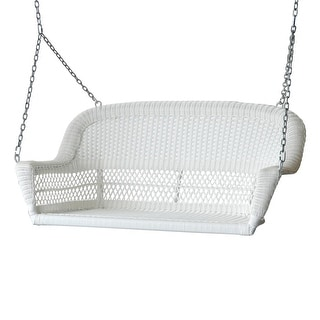 """51.5"""" Hand Woven White Resin Wicker Outdoor Porch Swing with Hanging Chain"""