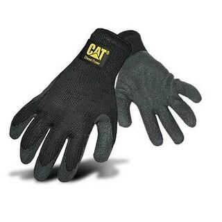 CAT CAT017410L Latex Coated String Knit Gloves, Black, Large