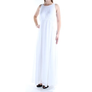 Womens White Sleeveless Maxi Empire Waist Wedding Dress Size: 10