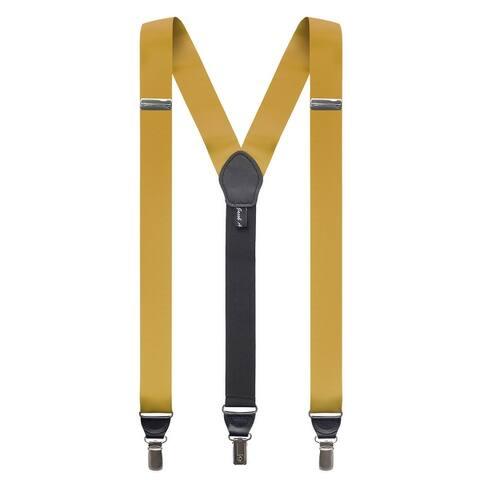 Jacob Alexander Men's Grosgrain Ribbon Leather Clip Y-back Suspenders Braces