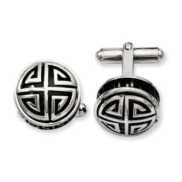 Stainless Steel Black Enamel & Greek Key Cuff Links