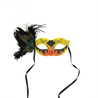 """9"""" Orange, Yellow and Black Glittered Faux Peacock Feathered Halloween Masquerade Mask"""