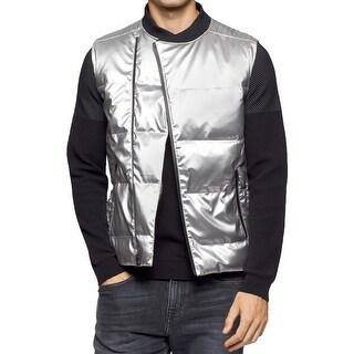 Calvin Klein Mens Vest Metallic Quilted