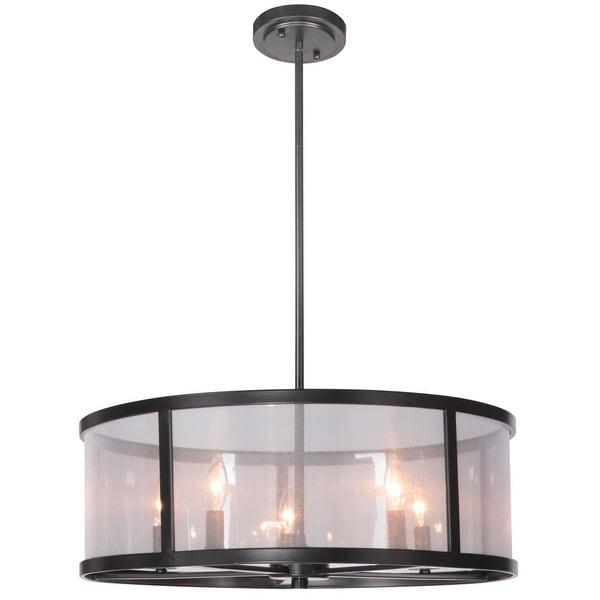 Jeremiah Lighting 36795 Danbury 5 Light Drum Shaped Indoor Pendant - 25.35 Inches Wide - MATTE BLACK