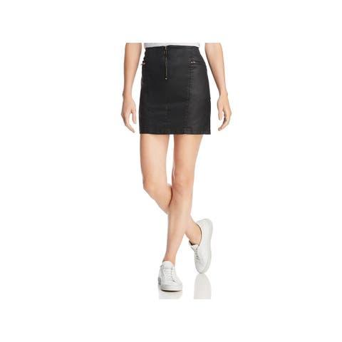 Rebecca Minkoff Womens Emery Mini Skirt Faux Leather Zipper