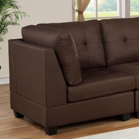 Furniture of America Fini Transitional Brown Linen Fabric Corner Chair