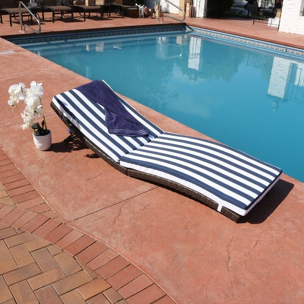 Sunnydaze Maui Wicker Rattan Folding Sun Lounger with Blue Stripes