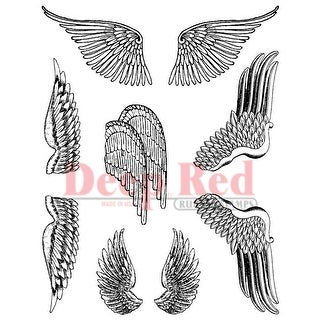 "Deep Red Cling Stamp Set 3""X4""-Wings"