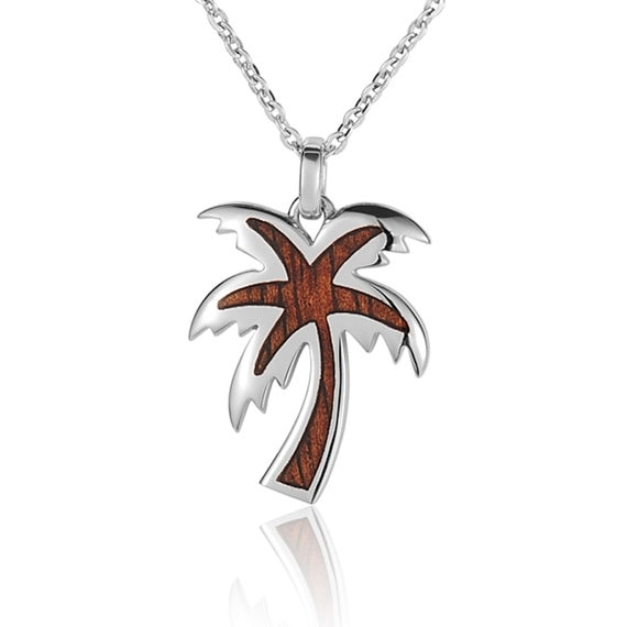 "Palm Tree Necklace Koa Wood Sterling Silver Pendant 18"" Chain"