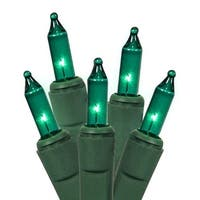 Set of 100 Teal Green Everglow Mini Christmas Lights - Green Wire