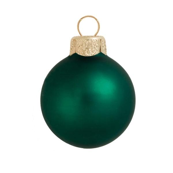 "40ct Matte Emerald Green Glass Ball Christmas Ornaments 1.25"" (30mm)"