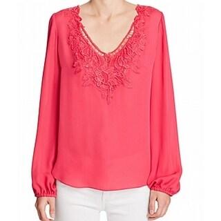 Elie Tahari NEW Pink Womens Size Large L V-Neck Floral Crochet Blouse