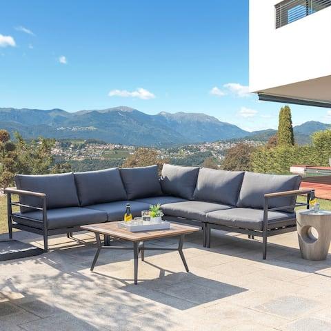 Glitzhome Outdoor Modern Patio Aluminum Sofa Sectional
