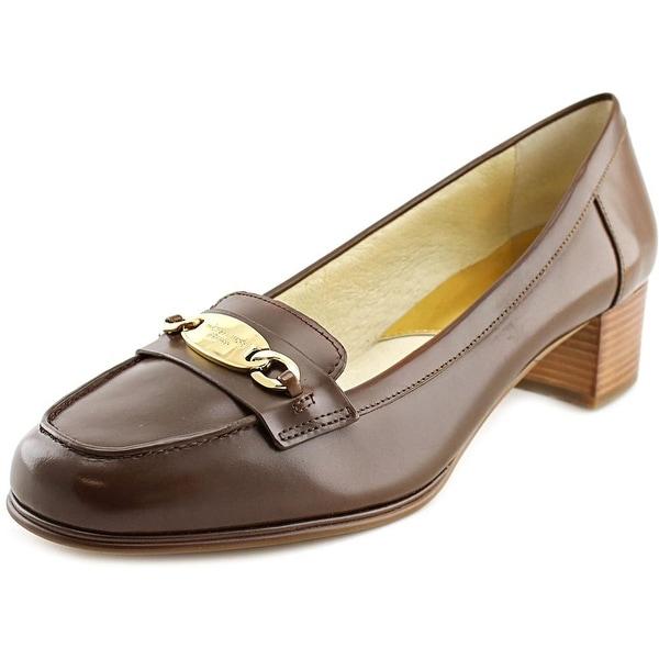 Michael Michael Kors Lainey Mid Loafer Women Moc Toe Leather Brown Heels