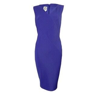 Anne Klein Women's V-Neck Textured Stripe Stretch Sheath Dress - Ultraviolet