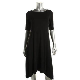 Eileen Fisher Womens Asymmetrical Boatneck Casual Dress