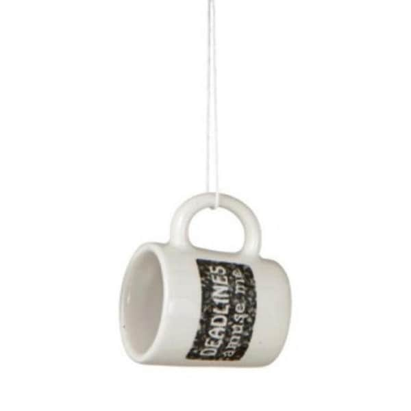 "Black and White ""Deadlines Amuse Me"" Workplace Humor Mug Christmas Ornament 2.25"""
