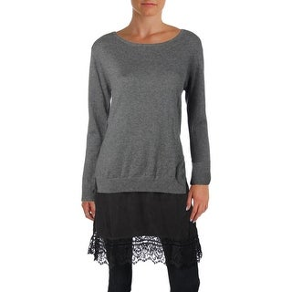 French Connection Womens Melba Pullover Sweater Wool Blend Lace Trim
