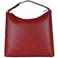 """NEW Gucci 449732 Red Micro GG Guccissima Leather Purse Hobo Handbag - 13.5"""" x 13"""" x 5.5"""""""