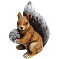 "Alpine QWR592 Christmas Winter Squirrel Statue, 11"""