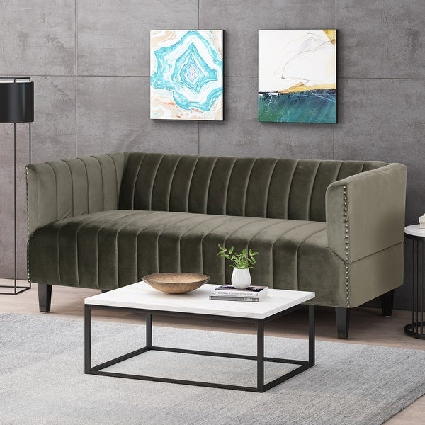 Weymouth Contemporary Channel Stitch Velvet 3 Seater Sofa by Christopher Knight Home. Opens flyout.