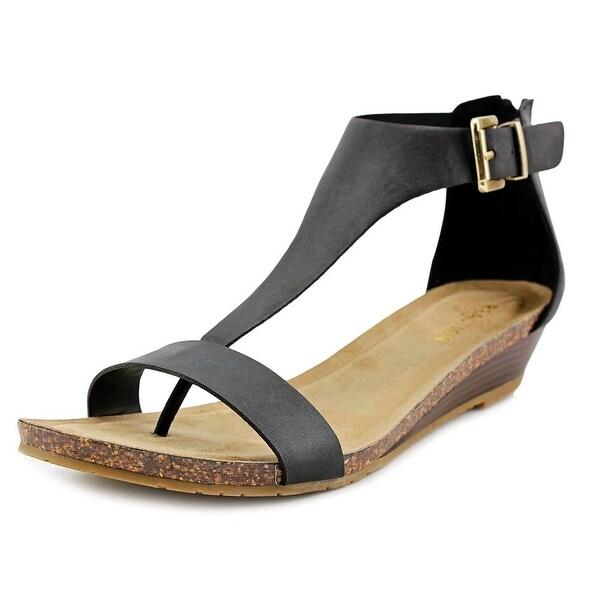 Kenneth Cole Reaction Great Gal Women Open Toe Leather Black Wedge Sandal