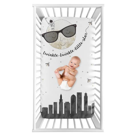Moon and Star Boy or Girl Photo Op Fitted Crib Sheet - Grey Black Gold Modern Celestial City Skyline Twinkle Twinkle Little Star