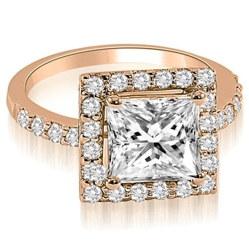 1.05 cttw. 14K Rose Gold Princess and Round cut Halo Diamond Engagement Ring