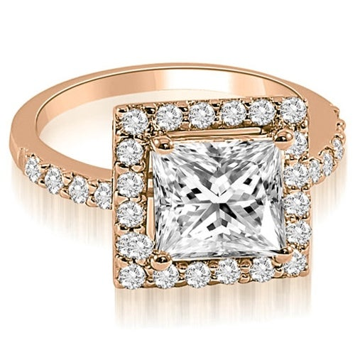 1.30 cttw. 14K Rose Gold Princess and Round cut Halo Diamond Engagement Ring