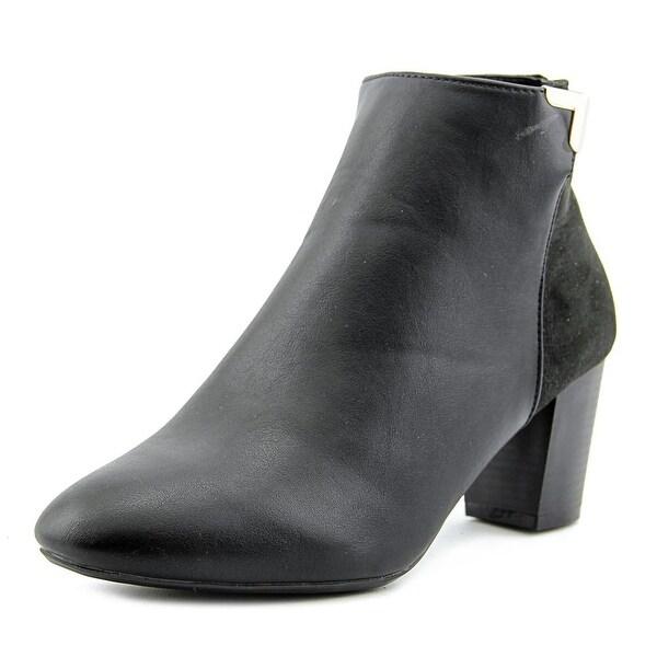 Karen Scott Gahriet Women Round Toe Leather Black Ankle Boot