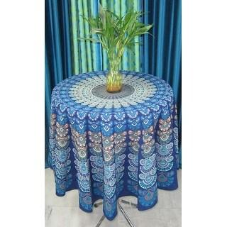 "Handmade Sanganer Peacock Mandala 72"" Round Cotton Tablecloth Gorgeous Blue Green"