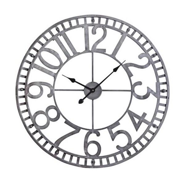 Manhattan Industrial Analog Wall Clock, Pewter - 32 in.