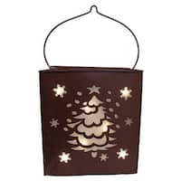 """12.5"""" Shimmering LED Lighted Christmas Tree and Snowflake Battery Operated Lantern - brown"""