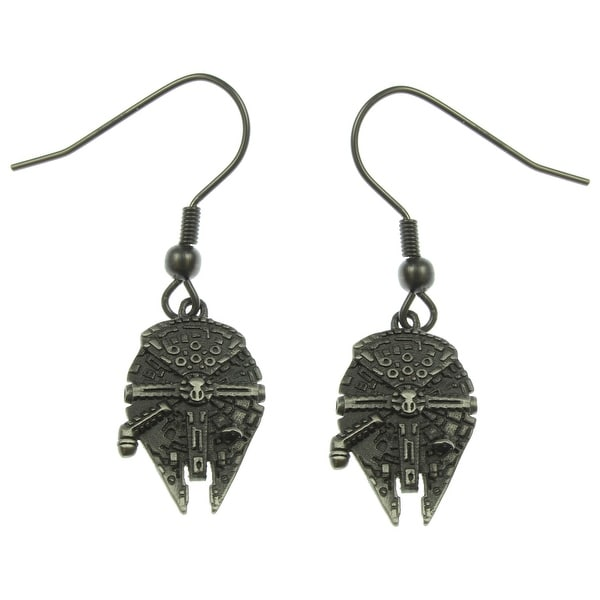 Star Wars Stainless Steel Millennium Falcon 3D Dangle Earrings - Silver