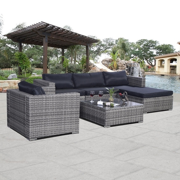 Costway 6pc Patio Sofa Furniture Set Pe Rattan Couch Outdoor Aluminum Cushioned Gray Free