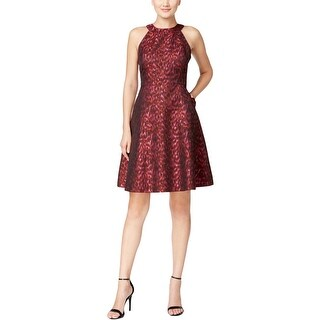 Calvin Klein Womens Petites Party Dress Fit & Flare Printed