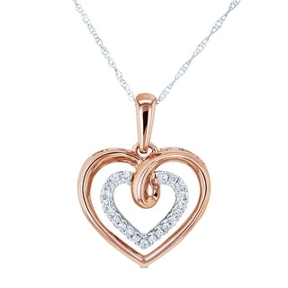Link to Annello by Kobelli 10k Two Tone Gold 1/10ct TDW Diamond and Gold Hearts Necklace, 18in Similar Items in Necklaces