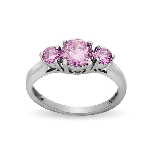 Ring with Pink Cubic Zirconia in Stainless Steel