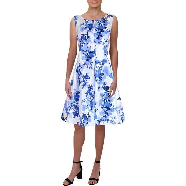 Jessica Howard Womens Cocktail Dress Shantung Floral Print