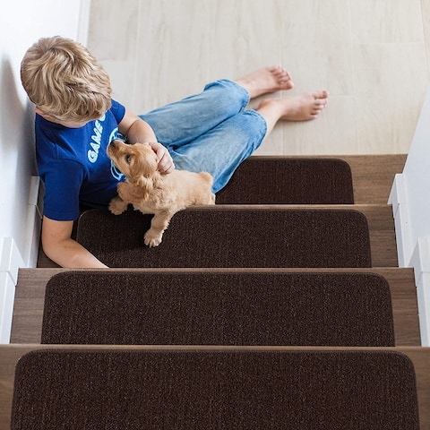 "Beverly Rug Indoor Non Slip Carpet Stair Treads 8.5""x 26"" Solid Colors"