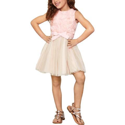 BCBGirls Girls Party Dress Metallic - Rose Petal