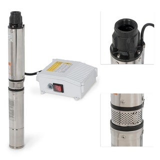 Arksen Deep Well Submersible Pump 1HP w/ Control Box, 110v 60hz 33GPM 200FT Head Stainless Steel, 4""
