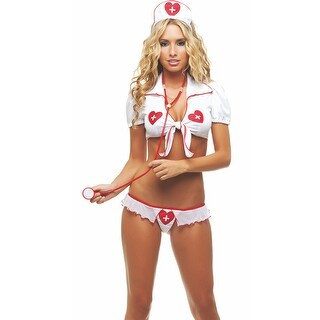 Sweetheart Nurse Lingerie Costume - White/Red