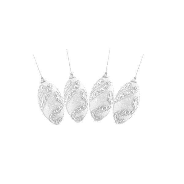 """Set of 4 White With a Silver Beaded Pattern Shatterproof Christmas Finial Ornaments 4.5"""""""