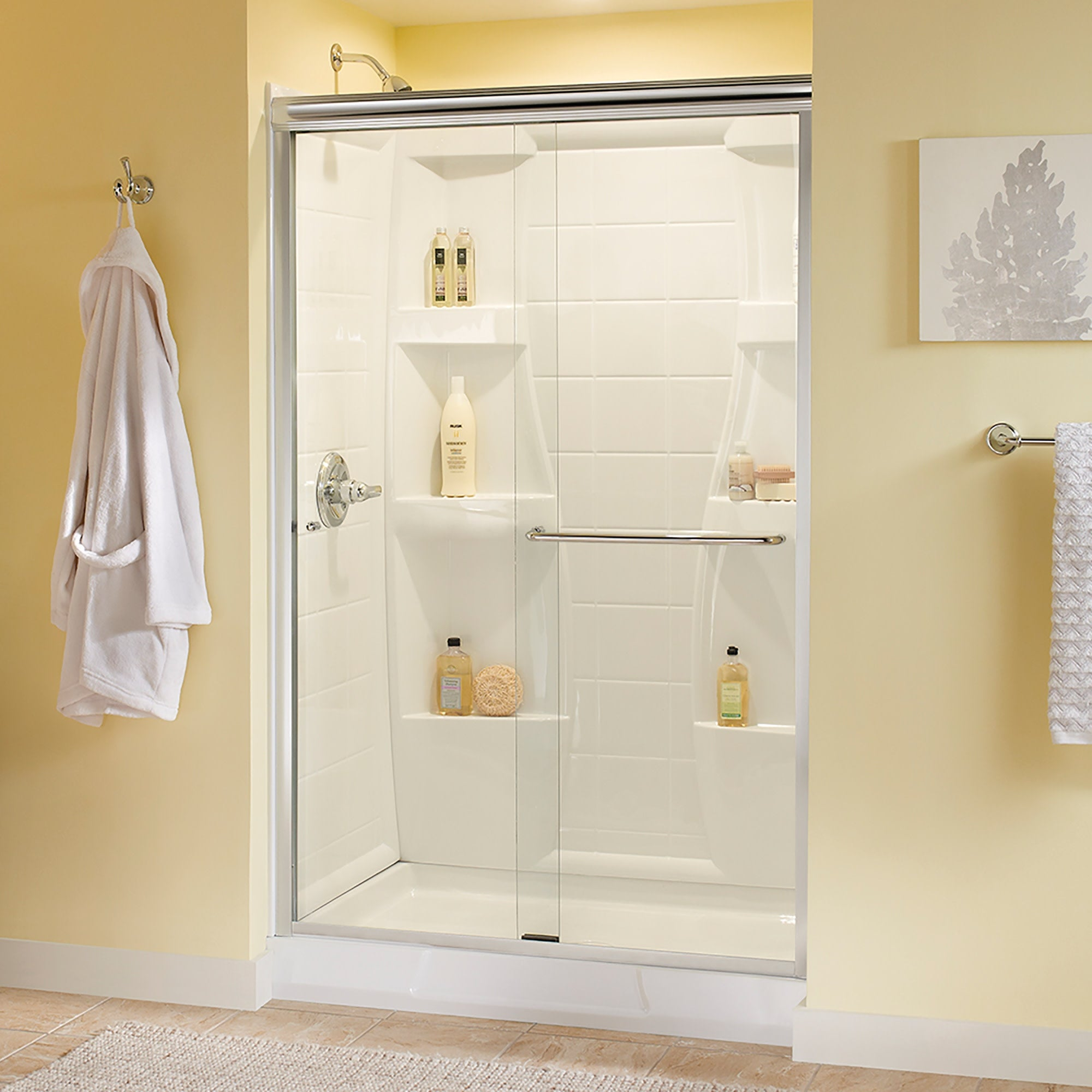 Delta Sd3956938 Classic 70 High X 47 3 8 Wide Sliding Semi Frameless Shower Door With Clear Glass Chrome