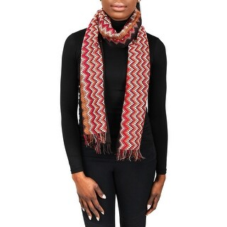 Missoni SC31PSD5928 0001 Red/Brown Wool Blend Womens Scarf - 16.5 - 75
