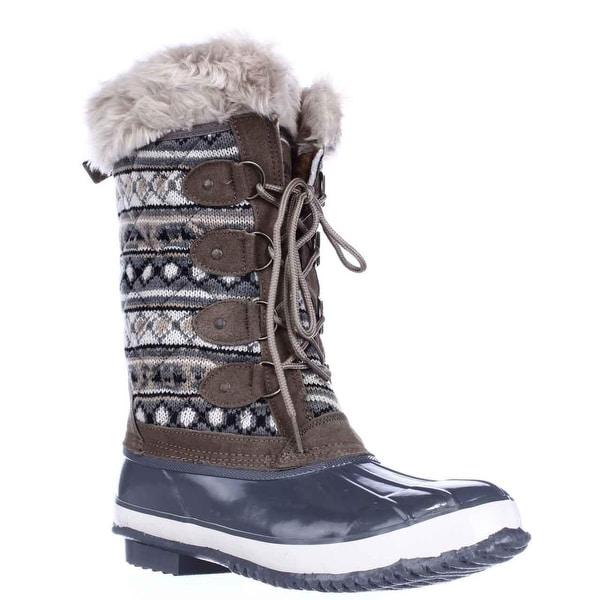 Khombu Melanie Waterproof Winter Boots, Grey/Tan