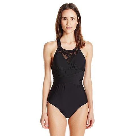 Athena Women's Sahara Palm Verona Removable Soft Cup High Neck One Piece SZ: M