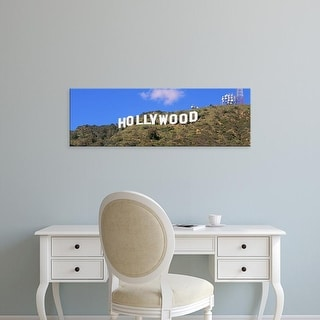 Easy Art Prints Panoramic Image 'View of a Hollywood sign on a hill, City Of Los Angeles, California' Canvas Art