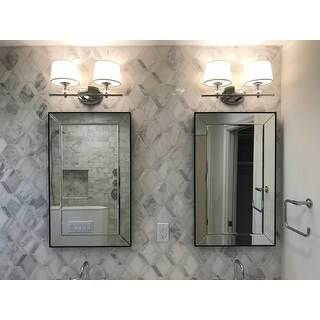 Maxim Rondo Polished Nickel White Metal Fabric 2 Light Bath Vanity